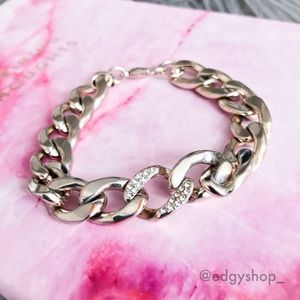 [express] pave accented curb chain bracelet